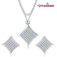 MEENAZ  STYLISH MICRO PAVE SETTING RHODIUM PLATED CZ PENDANT SET PT104