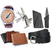 Combo of Graphic Analog Watch, Swiss Knife, Credit Card Knife, Belt And Wallet