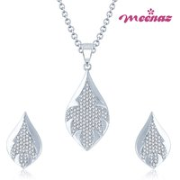 MEENAZ EXOTIC MICRO PAVE SETTING RHODIUM PLATED CZ PENDANT SET PT106