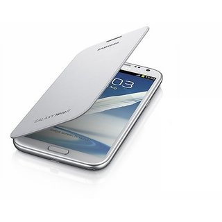 White Flip Cover For Samsung Galaxy Note 2  # SMC 09 available at ShopClues for Rs.249