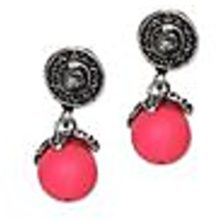 Neon Orange Drop Antique Silver Earring