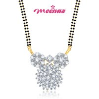 MEENAZ SUNRISE GOLD AND RHODIUM PLATED CZ MANGALSUTRA PENDANT MSP 704