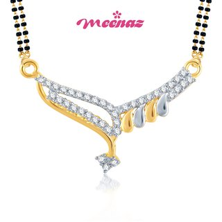 Meenaz Gold Plated Cubic Zirconia (Cz)Multi Pendants Chains For Women