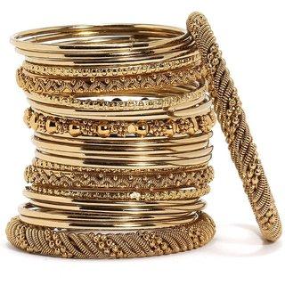 JDX Traditional Wedding Gold-Plated Bangles Bracelets Set For Women (Mehandi )2.4