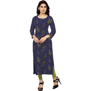 Ziyaa Blue Floral Crepe Stitched Kurti