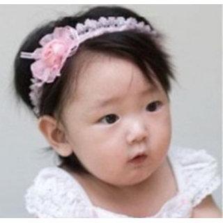 AkinosKIDS babyGirl cute two flowers soft elastic white Pink chiffon linen headband. Kids Hair Accessory