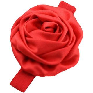 AkinosKIDS Newborn Red Satin Rosette soft elastic Lace Headband/Kids Hair accessory