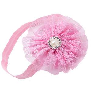 AkinosKIDS Newborn BabyGirl Double Chiffon Mesh Yarn Flower and Pearl soft Elastic Pink Headband.Kids Hair Accessory