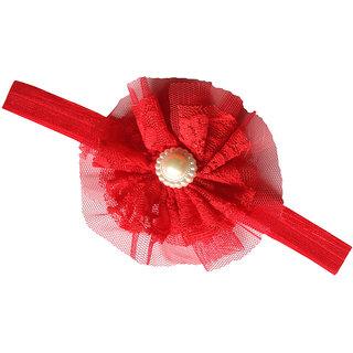 AkinosKIDS Newborn BabyGirl Double Chiffon Mesh Yarn Flower and Pearl soft Elastic Red Headband.Kids Hair Accessory