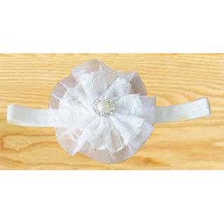 AkinosKIDS Newborn BabyGirl Double Chiffon Mesh Yarn Flower and Pearl soft Elastic White Headband.Kids Hair Accessory