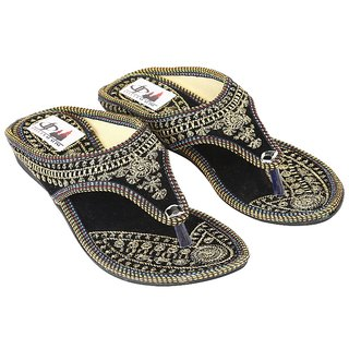 Decot Paradise Black Flat Ethnic Footwear