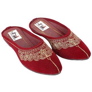 Decot Paradise Maroon Flat Ethnic Footwear
