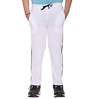 Vimal White Cotton Blended Trackpant For Boys