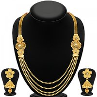 Sukkhi Stylish Jalebi 4 String Gold Plated Necklace Set For Women