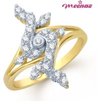 MEENAZ FANCY WALE GOLD AND RHODIUM PLATED CZ  RING FR111