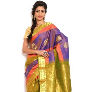 Sudarshan Silks Pretty Multi-Color Silk Kanchipuram Saree