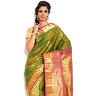 Sudarshan Silks Trendy Green Silk Kanchipuram Saree
