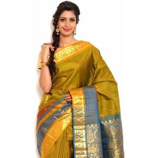 Sudarshan Silks Classic Green Silk Kanchipuram Saree