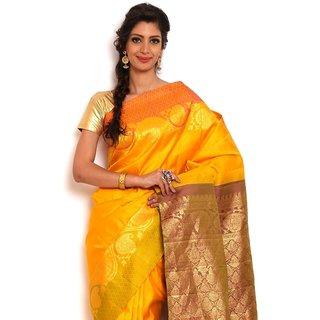 Sudarshan Silks Trendy Yellow Silk Kanchipuram Saree