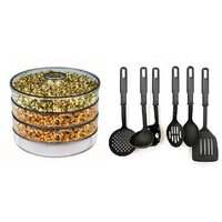 COMBO OF SPROUT MAKER 3 COMPARTMENTS WITH KITCHEN TOOL SET OF 6 PCS.