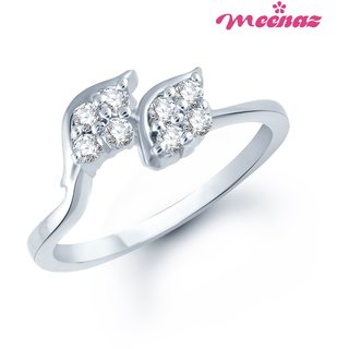 MEENAZ STYLISH RHODIUM PLATED CZ  RING FR117