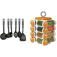 Combo Of Kitchen Tool Set Of 6 Pcs With 16 In 1 Kitchen Spice Jar 1 Pc.