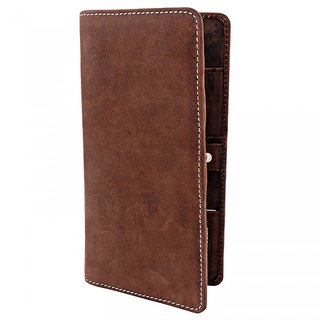 Zint Mens Wallet Vintage Genuine Leather Bifold Credit Card Holder Passport Holder Brown Coin Photo Id Purse
