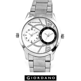 Giordano Dual Dial Clock Black/White Analog Silver Colored STAINLESS STEEL Watch