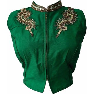 Mastani Green Cotton Stitched Blouse