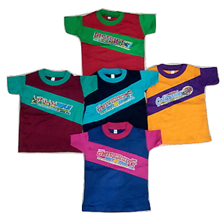 Kids Cotton Multicolour Half Sleeves Tees Pack Of 5