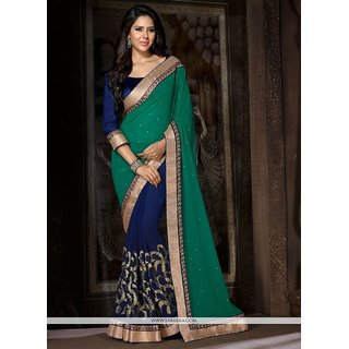 INDIAN BEAUTY. Multicolor Georgette Embroidered Saree With Blouse