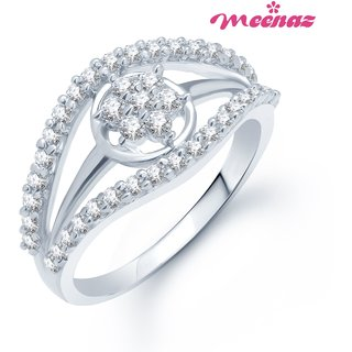 MEENAZ TOP STAR RHODIUM PLATED CZ FINGER RING FR133