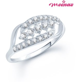 MEENAZ REMARKABLE RHODIUM PLATED CZ RING FR134