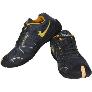 Axter Black Gray Canvas Lace-up Running Shoes