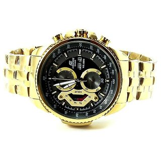 CASIO EDIFICE EF-558D-8AV GOLDEN/BLACK DIAL SPORTS CHRONOGRAPH MENS WATCH