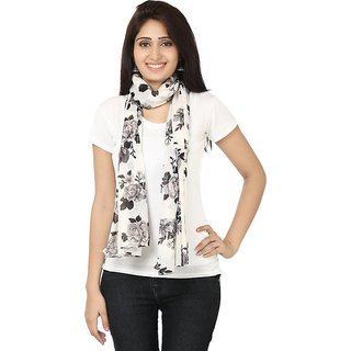 S.lover Women White base Floral Print Formal Wear Cotton stoles and scarfs