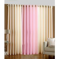 Combo Set Of 3 Decent Curtains - 2 Cream & 1 Pink