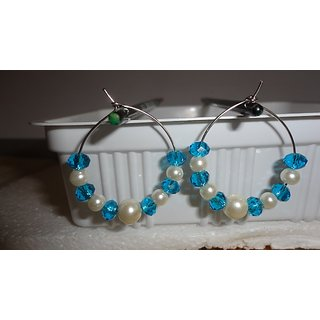 pearl and Blue crystal beads ear rings