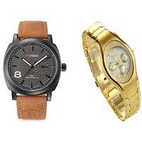 Curren Brown Black dial Men And Rosra Gold Ledish Watches For Men  Women