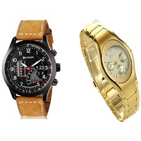 Curren Brown Black Dial And Rosra Gold Ledish Watches For Men  Women