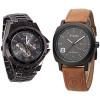 Curren And Rosra  Black Dial Ledhar  Metal Anloge Men,s Combo Watch