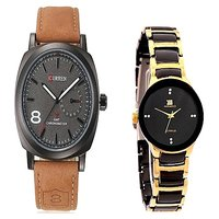 Curren Brown Black Dial and IIK Colection Black and Gold Women Watches for Men and Women