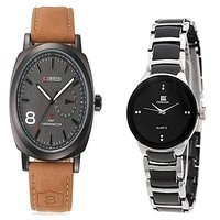 Curren Brown Black Dial and IIK Gold and Black Women Watches for Men and Women
