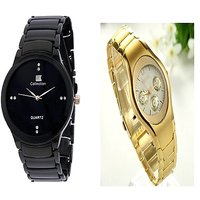 IIK Collction Black and  Rosra Gold  Women Watches Couple for Men and Women