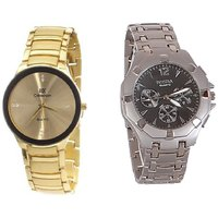 IIK COLLECTION And ROSRA Stylish Casual Watches For Mens- Combo gold+silver