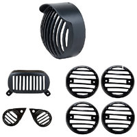 Auto Hub Bullet Headlight Plastic Grill Set For Royal Enfield Standard (350/500)