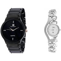 IIK Black Men and Glory Silver Chain Women Watches Couple for Men and Women