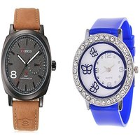 Curren Brown Black Dial and Round Dial Buterfly Blue Women Watches Couple for Men and Women