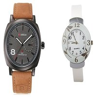 Curren Brown Black Dial and White Dial Flower Watches Couple for Men and Women