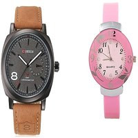 Curren Brown Black Dial and Pink Dial Flower Watches Couple for Men and Women